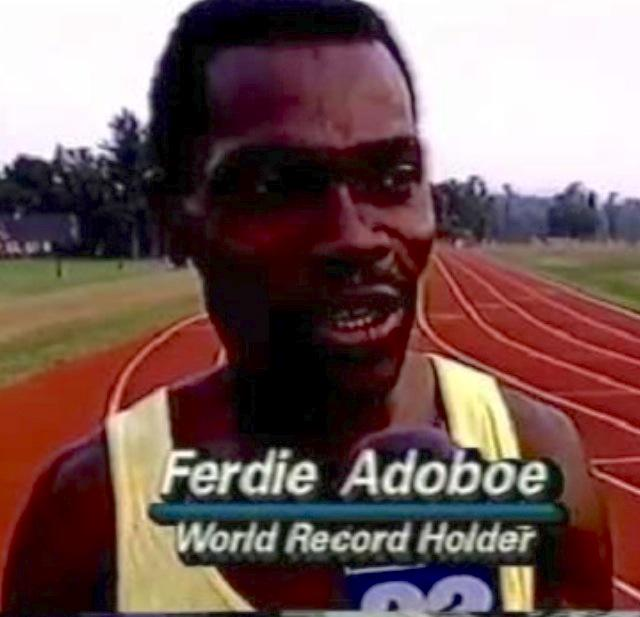 Ghana's Ferdie Ato Adoboe set a world record in 1983 & 1991 by running 100 metres backwards in 12.7 and 13.6 seconds.